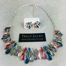 UK Ladies Designer Silver Multicoloured Twists Necklace Earring Set Jewellery