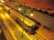 3 grüne 2-flammige 6V LED Bahnsteiglampen, 69mm, N Z (aus Metall)