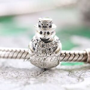 Authentic Pandora Snowman 792001CZ  with Clear CZ Sterling Silver Charm Bead