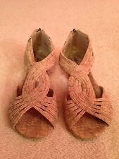 Womens LUCKY BRAND Beige Taupe Leather Sz 7 Zip Up Sandals Shoes Very Cute