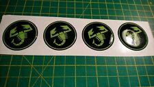 4x Abarth Scorpion vinyl stickers Fiat 500 Punto Sciento GEL DOMED Black/Green