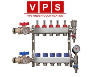 5 Zone Underfloor Heating Manifold with Eurocones, Valves & Gauges
