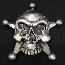 Pewter - Skull - Star - Cards - Belt Buckle - Heavy Metal Mfg. - Free Shipping