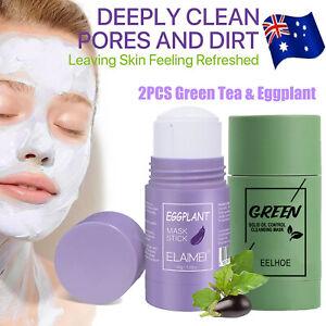 Green Tea Purifying Clay Stick Mask Oil Control Anti-Acne Eggplant Solid Fine AU