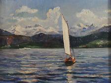 Signiert K Lembeck datiert 25 - Segelboot Gebirgssee Österreich Alpen ?