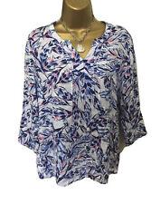 Ladies Blouse Top Shirt 12 Blue White Pink 3/4 Sleeve Leaf Viscose Summer