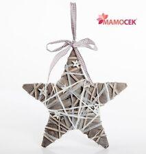 STELLA vimini PIOPPO GRIGIO argento cm.25 decorazione Natale da appendere Shabby