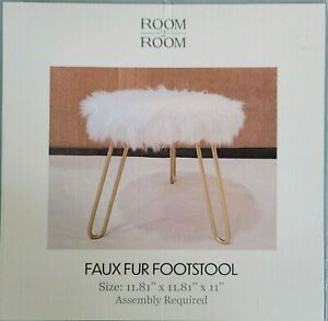 TikTok White Luxury Accent Faux Fur Foot Rest Ottoman Stool Golden Hairpin Legs