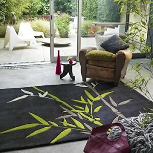 The Rug House Harlequin Contemporary Black Green Colourful Funky Bamboo Leaf...
