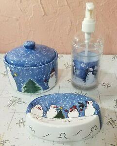 Snowman Bathroom Set Ceramic Soap Dish Liquid Soap Dispenser and Jar Christmas