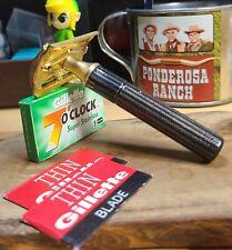 1939-45 Gillette TECH Black Fat handle vintage safety razor 5 Gillette 7 o'clock