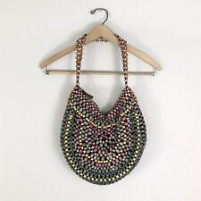 Club Monoco Wooden Beads Handbag Bag Green Purple Yellow Boho