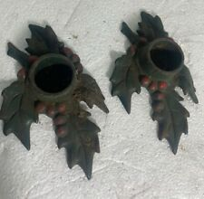 Lot of 2 - Cast Iron Holly Leaf Single Candle Stick Holders