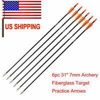 US Sell 6pcs Spine 700 Archery Fiberglass Target Practice Arrows Sports Hunting