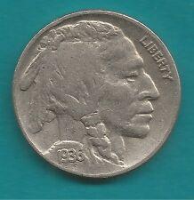 5 Cent-Nickel-Münze-USA-1936-Indianer-Büffel-in sehr schöner Erhaltung-RAR-