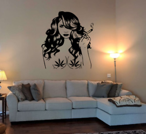 Sexy weed boob Women Naked Silhouette Man Cave Wall Art Vinyl Decal Sticker V776