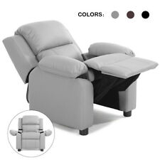 Gray Deluxe Padded Kids Sofa Armchair Recliner Headrest Children w Storage Arms