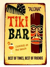 Tiki Bar Aloha Tin Poster Sign Beach Restaurant Man Cave Vintage Rustic Look