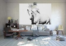 WALLPAPER WALL MURAL for BEDROOM 175 x 115cm POSTER STYLE WHITE HORSE - MUSTANG