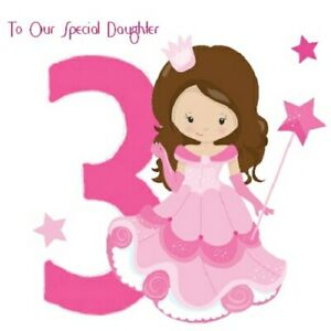 PRINCESS THEMED BIRTHDAY CARDS LITTLE GIRLS PINK NIECE DAUGHTER NIECE COUSIN