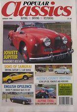 Popular Classics 08/1990 featuring Jowett Jupiter, Datsun, Sunbeam, Austin,Rover