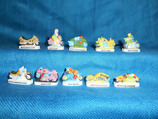 Minature Porcelain MOTORCYCLES Set 10 Mini Figurines FRENCH FEVES Matte CYCLES