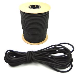 "3/8"" Black Shock Cord Marine Grade Bungee Heavy Duty Tie Down Stretch Rope Band"