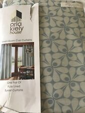 Pair Of Orla Kiely Woven Acorn Cup Mid Powder Blue Curtains 90x60cm £138 BNIP