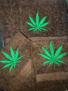 Embroidered BROWN Bathroom Towel Hand Towel and Cloth Set Marijuana Leaf  BHW64