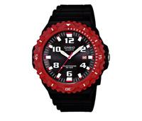 Casio MRW-S300H-4BV Men's Black and Red Analog Solar Powered Wristwatch