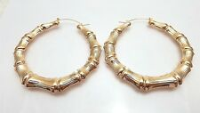 Gold Tone Bamboo Style Hoop Earrings Door Knocker Hoops 2 Inch