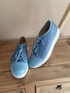 Mbt Blue Canvas Trainers Size Uk 7 New Without Tags leather/canvas