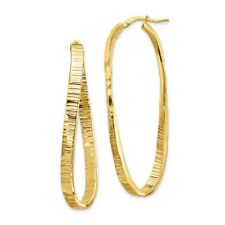 4mm, Textured Twisted Oval Hoops in 14k Yellow Gold, 50mm (1 7/8 Inch)