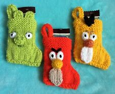 KNITTING PATTERN - Angry Bird inspired Christmas stocking decoration - Red, Pig