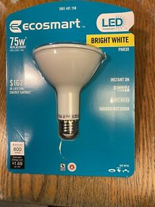 EcoSmart 75W Replacement 14w Bright White Par30 Flood Bulbs Dimmable New!