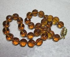 VINTAGE UNIFORM FACETED ROUND CITRINE GLASS BEAD NECKLACE, GOLD TONE CLASP