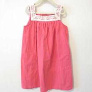 Hanna Andersson Gauze Summer Dress Pink w/Ivory Lace Neck Girls Sz 130 US 8 EUC