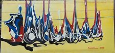 HAITI 12 X 24 PAINTING ON WOOD BOARD BY RENOWN FRANK ETIENNE HAITIAN DRIP PAINT