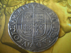 SILVER HAMMERED ELIZABETH 1ST SHILLING  2ND ISSUE 1560-61  IN  GOOD HIGH GRADE
