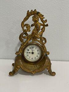 Antique Art Nouveau Gilt Metal New Haven Clock w/ Child or Cherub Decoration