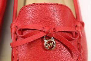 NIB $179 MICHAEL KORS Size 6.5 Women's Red 100% Grain Leather EVERETT MOC Loafer