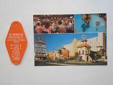 VEGAS RANCHO PENTHOUSE ROOM KEY FOB PHOTO POSTCARD NEVADA HOTEL VINTAGE VIEW OLD