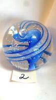 Glass Eye Studio Dichroic Series 3 inch Blue Carousel Paperweght i459L-2