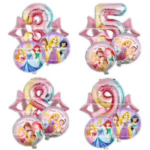 Disney Princesses Birthday Balloons Rainbow Party Decorations Girls Age Princess
