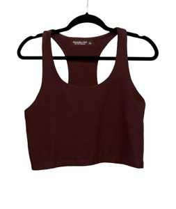 Abercrombie & Fitch Soft AF Cropped Tank Top Racer Back Shirt Women's Size Large