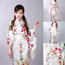 Japanese Kimono Vintage Yukata Cosplay Haori Costume Retro Geisha Dress Obi