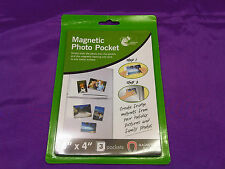 "6 x magnetic photo pockets picture pockets 6"" x 4"" to stick as fridge magnets"