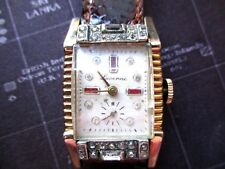 vintage mens lucerne/savoy watch co,echanical rhinestone watch, ticks rare