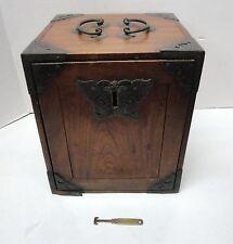 Vintage Handmade Wooden Lockable Spice Box / Case / Tool  Dovetail Steampunk