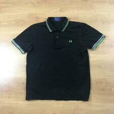 Fred Perry L Black Twin Tipped Short Sleeved Pique Cotton Polo Shirt Mod Weller
